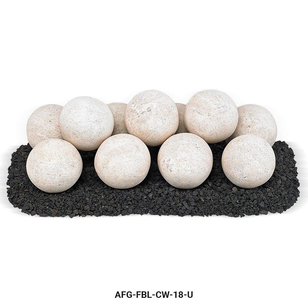 American Fireglass Uniform Ceramic Lite Stone Fire Pit Balls (AFG-FBL-CW-18-U), Set of 11, Cottage White by American Fireglass