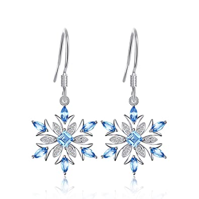 35a4ee920 JewelryPalace Snowflake 1.4ct Genuine Swiss Blue Topaz Dangle Earrings 925  Sterling Silver: Amazon.co.uk: Jewellery
