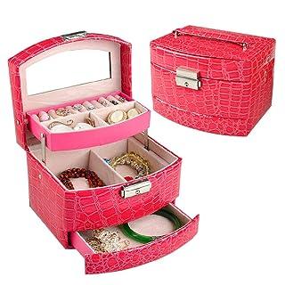 JU FU scatola di gioielli Contenitore di monili - tessuto PU afflitto / rivestimento floccato, disegno a 3 strati, con specchio per il trucco, scatola di immagazzinaggio di rifinitura dei gioielli deg