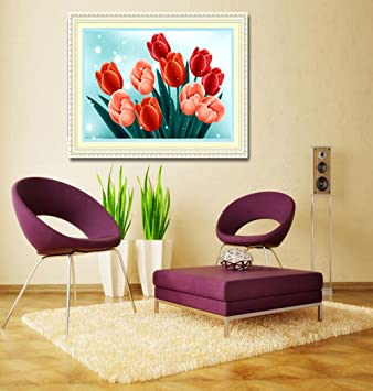 Cross Stitch Living Room Decorative Painting New Red Tulip Diamond Painting AT
