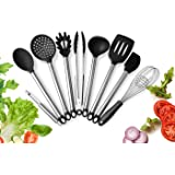 OFUN Silicone Kitchen Utensils, 9pcs Cooking Utensils Silicone, Heat Resistant Nonstick Silicone Utensil Baking Tool, Tongs, Slotted Spoon, Spatula, Pasta Server, Ladle, Strainer, Whisk, Turner, Corer