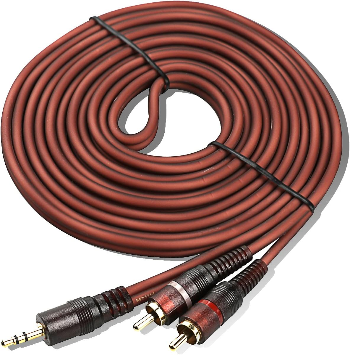 Gold 16.5 feet 15FT 3.5mm Stereo AUX Male to Two RCA Male Y Splitter Cable