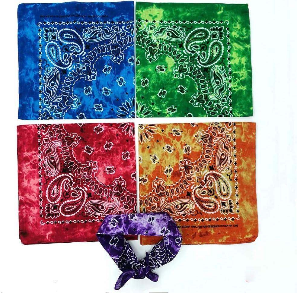 2# ruiruiNIE Gradient Tie-Dye Ethnic Paisley Floral Print 50x50cm Unisex Cotton Sport Pocket Quadrato Sciarpa Bandana Bandana Hip-Hop Wristband Verde