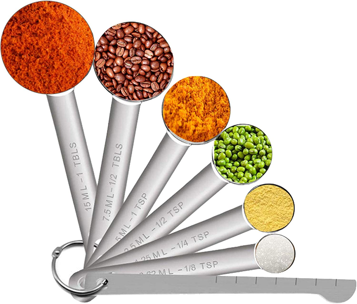 GTGR Measuring Spoons Set Stainless Steel for Cooking Baking Dry or Liquid, Fits in Spice Jar Metal Measuring Spoons Set of 7
