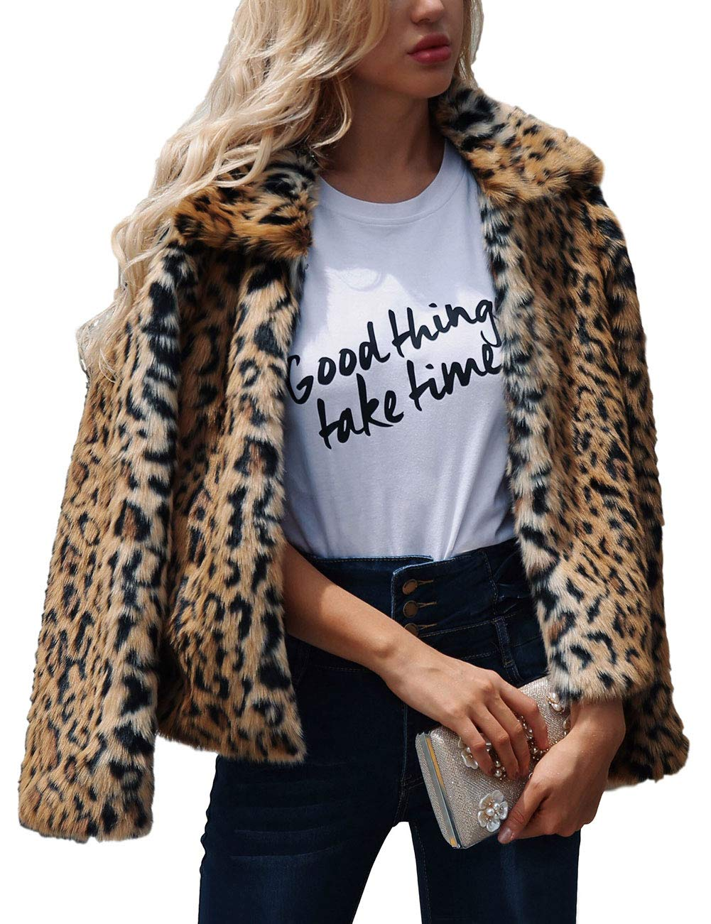 ZLSLZ Womens Ladies Cute Leopard Lapel Faux Fur Long Sleeve Event Waistcoat Jacket US XS