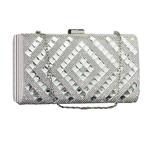 UNYU evening clutch - Cartera de mano para mujer Plateado plata talla única: Amazon.es: Zapatos y complementos