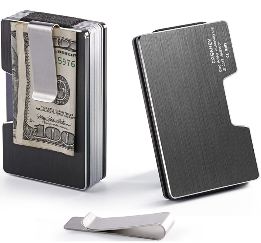 Aluminum Slim Minimalist Front Pocket Wallet Credit Card Case Holder RFID Blocking Wallet for Men and Women (Aluminum Black)