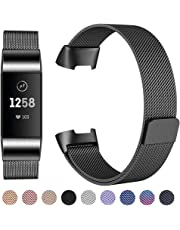 CAVN Compatible with Fitbit Charge 3 Strap, Adjustable Mesh Loop Stainless Steel Metal Strap Wristband Bracelet Band for Women Men with Unique Magnet Lock for Fitbit Charge 3,Small Large