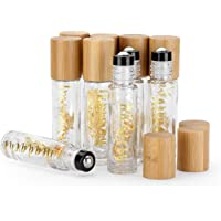 10 Pack 10ml Pretty Roll On Bottle for Oils,Empty Glass Essential Oil Roller Bottle With Bamboo Cap,Unique Stainless…