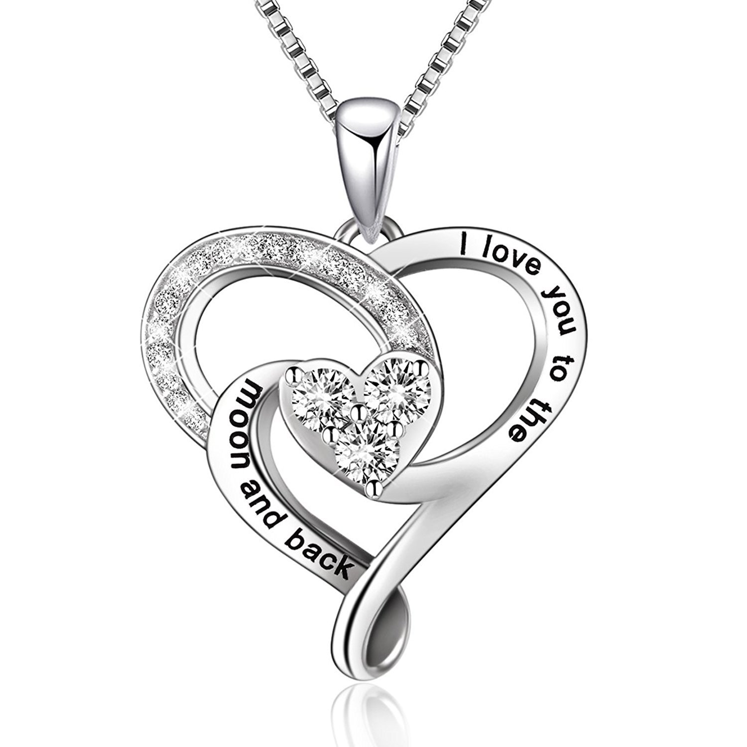 925 Sterling Silver Jewelry I Love You to The Moon and Back Love Heart Pendant Necklace, 18'' Box Chain