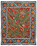 UZBEK LUXURIOUS EXCLUSIVE PURE SILK EMBROIDERY SUZANI FROM BUKHARA A8629