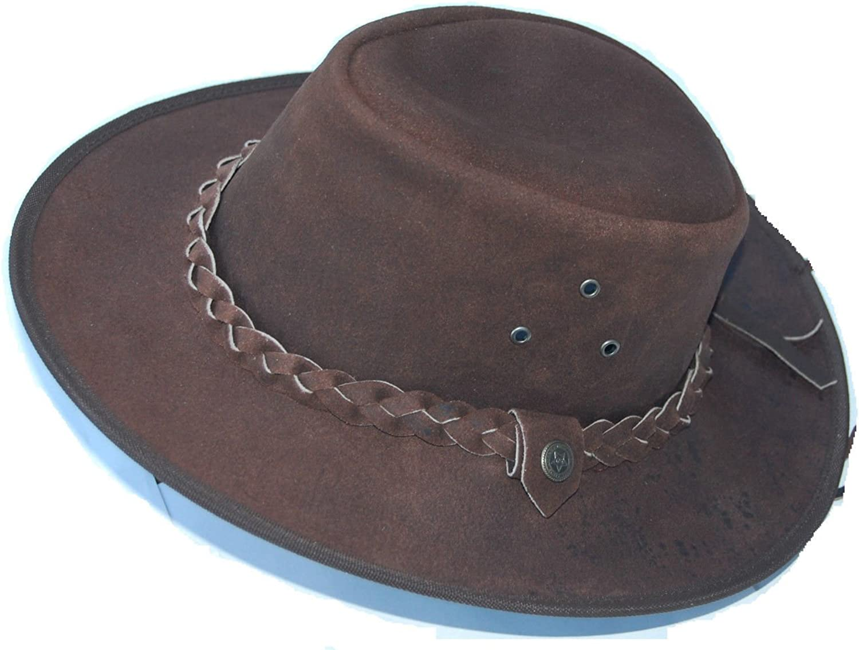 Leather Cowboy Western Aussie Style Outback Bush Hat 2b