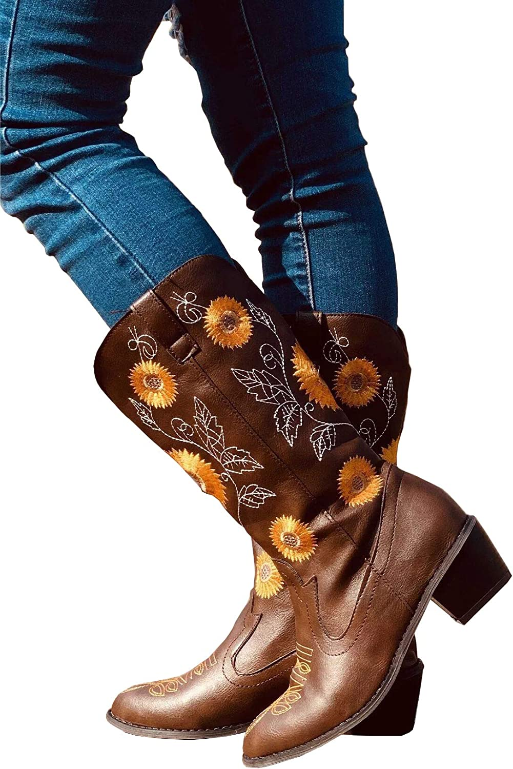 SO SIMPOK Womens Sweet Sunflower Boots Chunky Heels Cowgirl Short Boots Mid Calf Boots