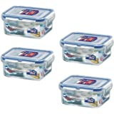 (Pack of 4) LOCK & LOCK Airtight Rectangular Food Storage Container 6.08-oz / 0.76-cup