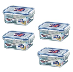(Pack of 4) LOCK & LOCK Airtight Rectangular Food Storage Container 6-oz / 0.76-cup