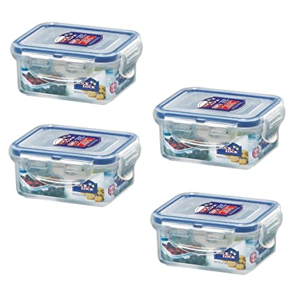 f1d929a0ca2 Amazon.com - (Pack of 4) LOCK   LOCK Airtight Rectangular Food Storage  Container 6-oz   0.76-cup -