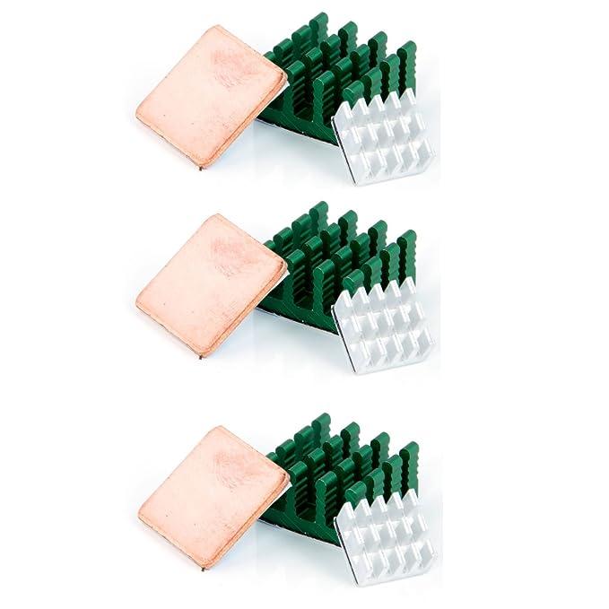 37 opinioni per Aukru- 3pcs dissipatori di calore Alluminio e Rame heatsink per Raspberry Pi 3