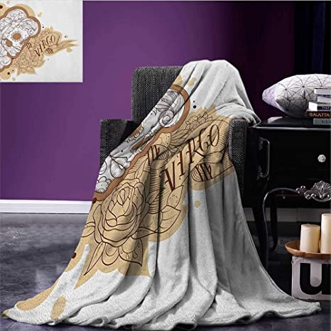 eeb56e11c5513 Image Unavailable. Image not available for. Color: Zodiac Virgo cool blanket  Gothic Mexican Female Portrait Sugar Skull Horoscope Tattoo ...