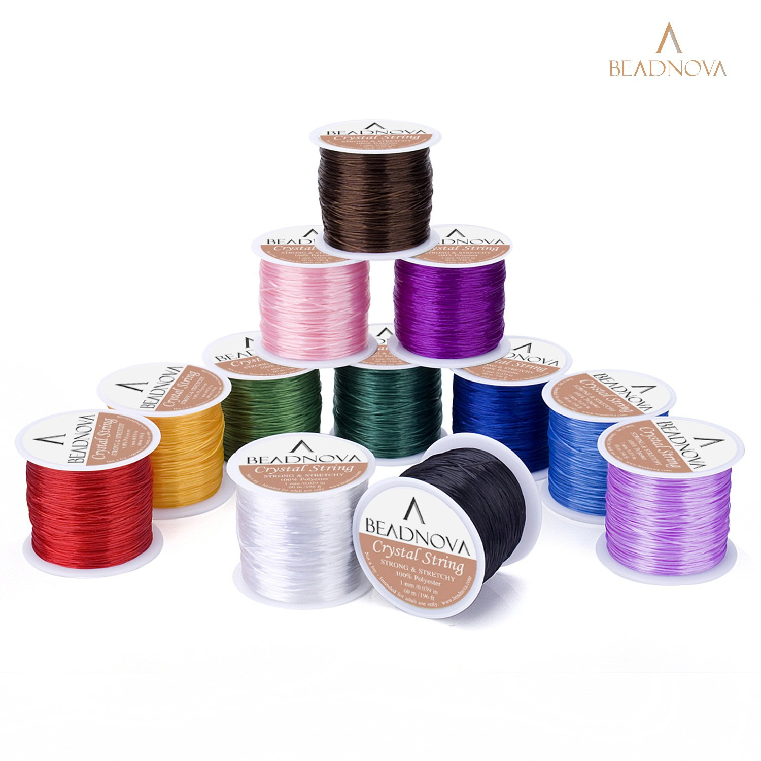 BEADNOVA-1mm Elastic Stretch Polyester Jewelry Bracelet Crystal String Cord 60m Roll (Clear White)