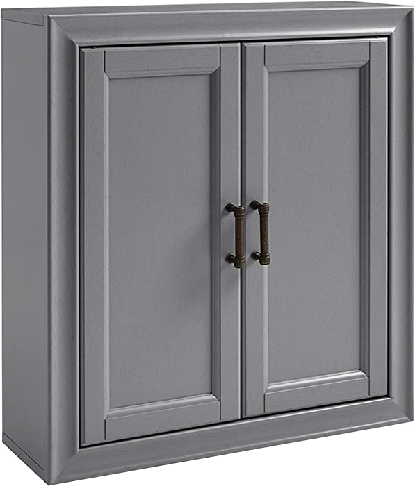 Crosley Furniture Tara Bathroom Wall Cabinet, Vintage Gray