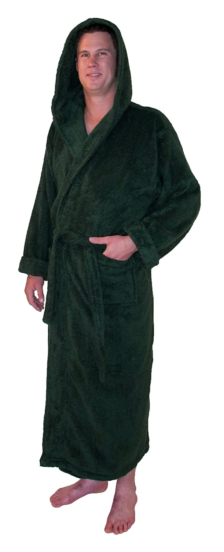 Grand Blanc Men s Warm Terry Cotton Full Length Hooded Bathrobe (Medium b692357a5