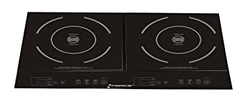 GForce GF-P1369-854 Portable Electric Double Induction Stove Burner Cooktop with Heat Function, Temperature Control & Timer – 1800 Watts