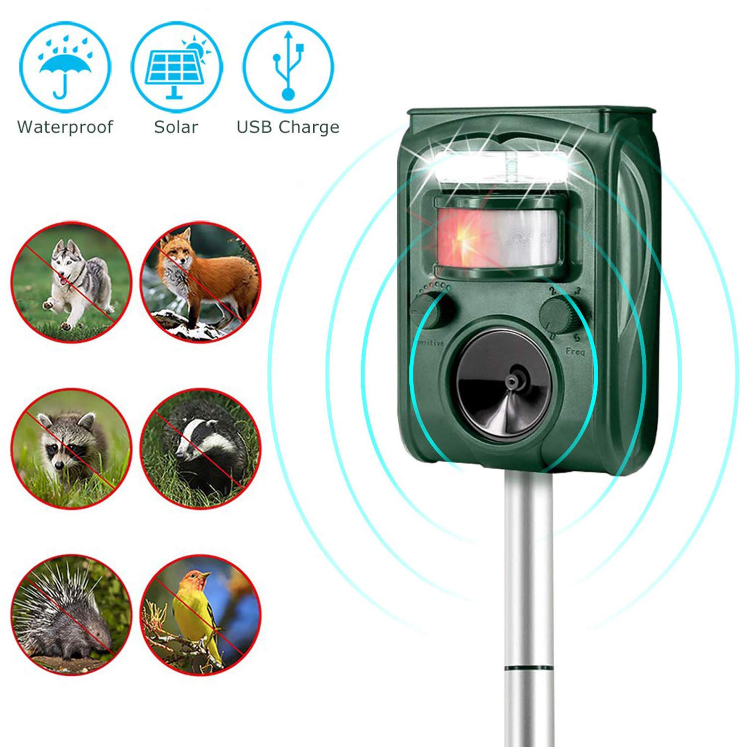Acidea Ultrasonic Animal Repeller, Solar Powered Animal Repellent with Motion Sensor and Flashing Light, Outdoor Weatherproof Repeller Repels Dogs, Cats, Deer, Squirrels, Foxes, Raccoons product image