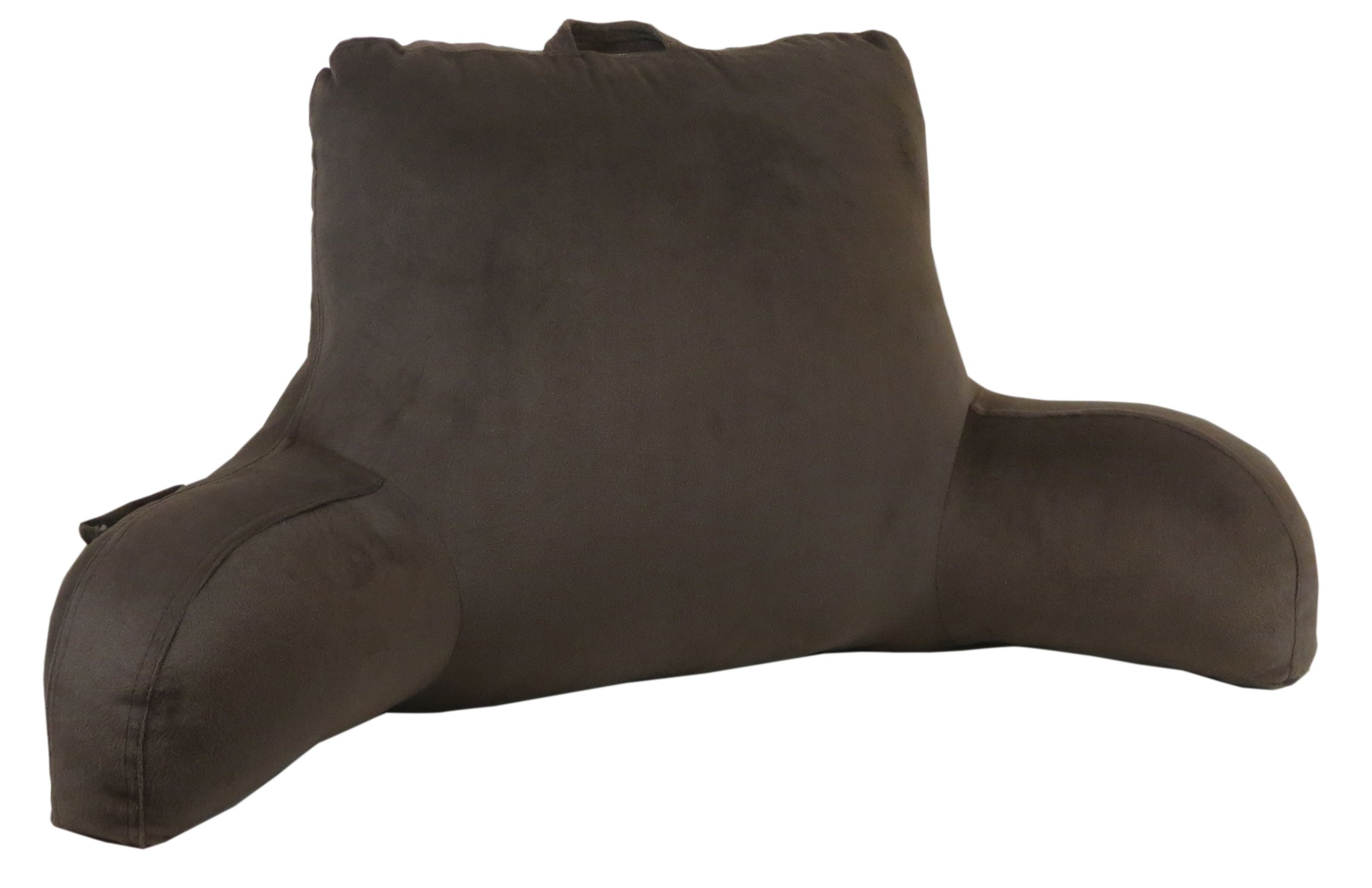 Velour Bed Rest Back Support Pillow (Brown)