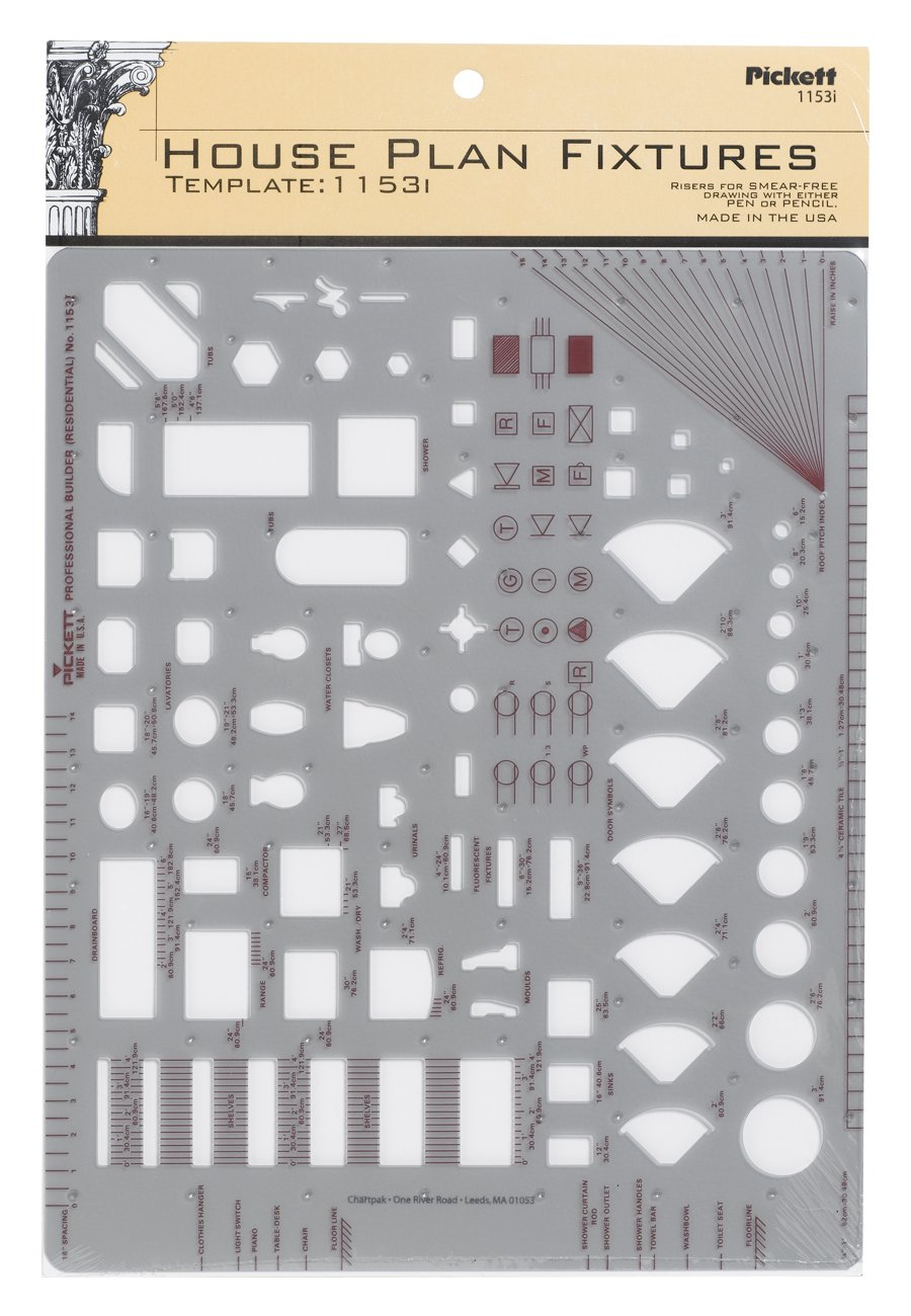 Pickett House Plan Fixtures Kitchen and Bath Template, 1/4 Inch Scale (1153I) by Pickett