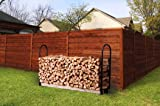 Firewood Log Rack Adjustable Bracket Kit, Fireplace Wood Storage Holder,Black Powder,Coated Steel, Outdoor and Indoor