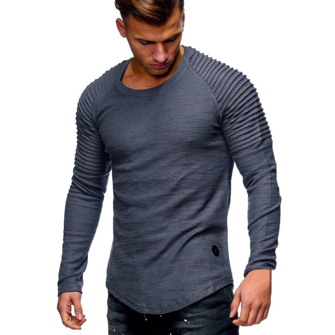 DAYSEVENTH MEN-TOPS Clearance Men's Casual Tops Long-Sleeved T-Shirt Solid Color Fold Round Neck Blouse 442563