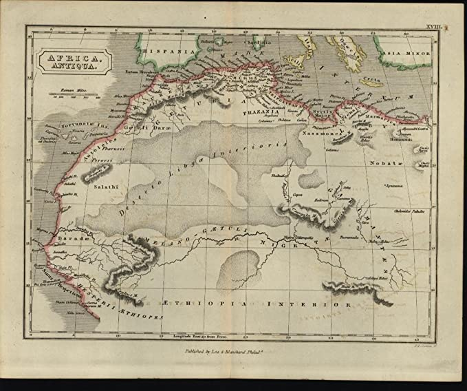 Amazon.com: North West Africa Morocco Libya Sahara Desert 1847 ...