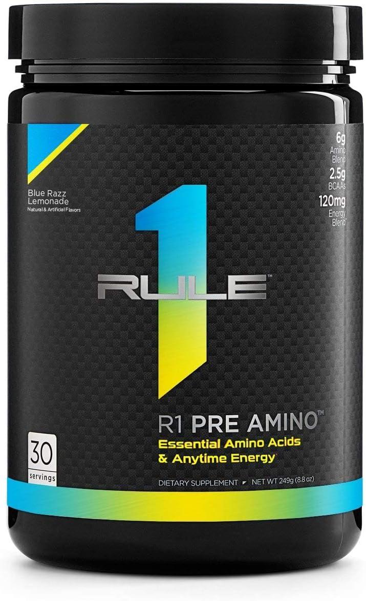 Rule 1 Proteins RU0443 Pre Amino 30 Serving Blue Razz Lemonade, 252 Grams