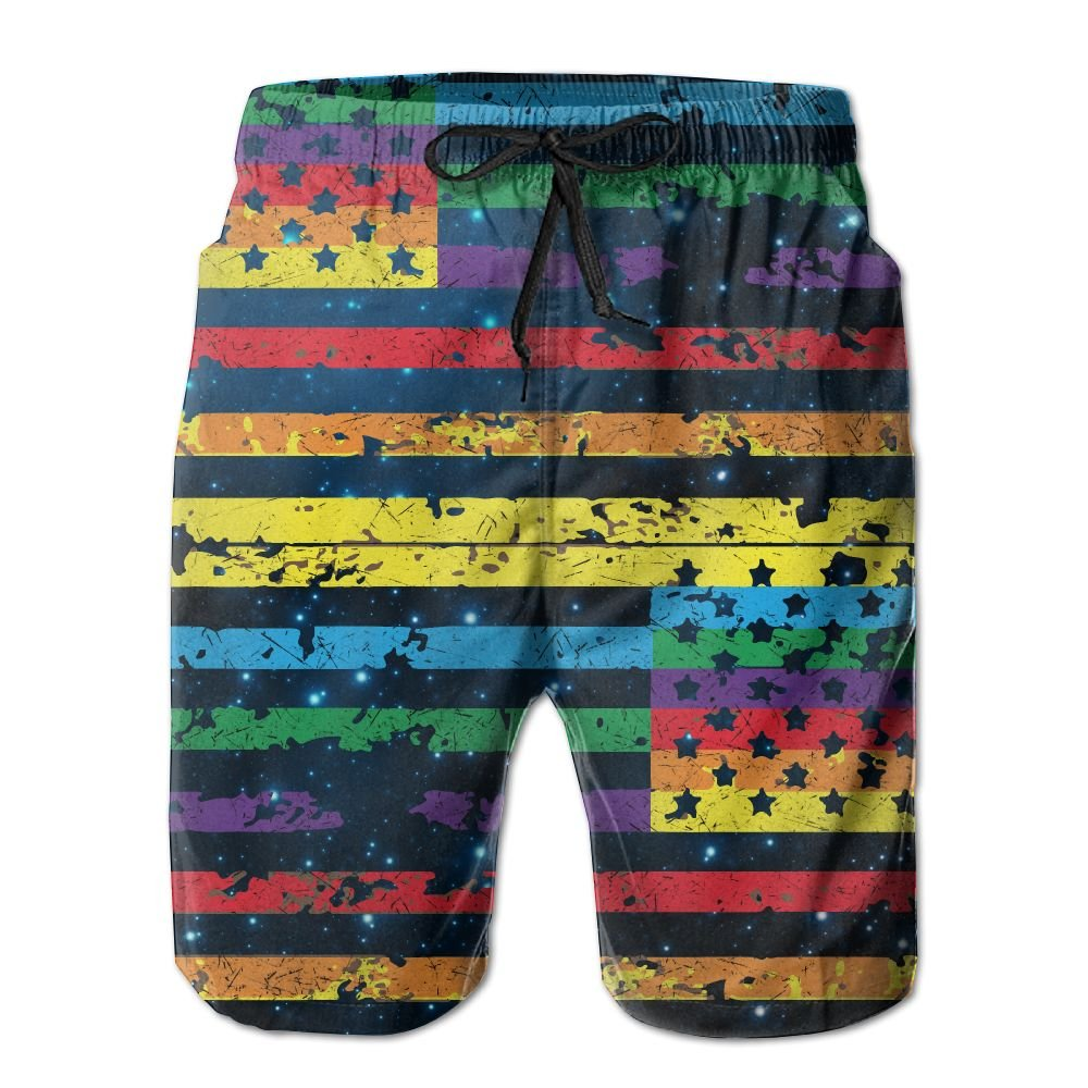 OIYP Rainbow American Flag Gay Lesbian LGBT Pride Men's Basic Watershorts XL With Pocket by OIYP