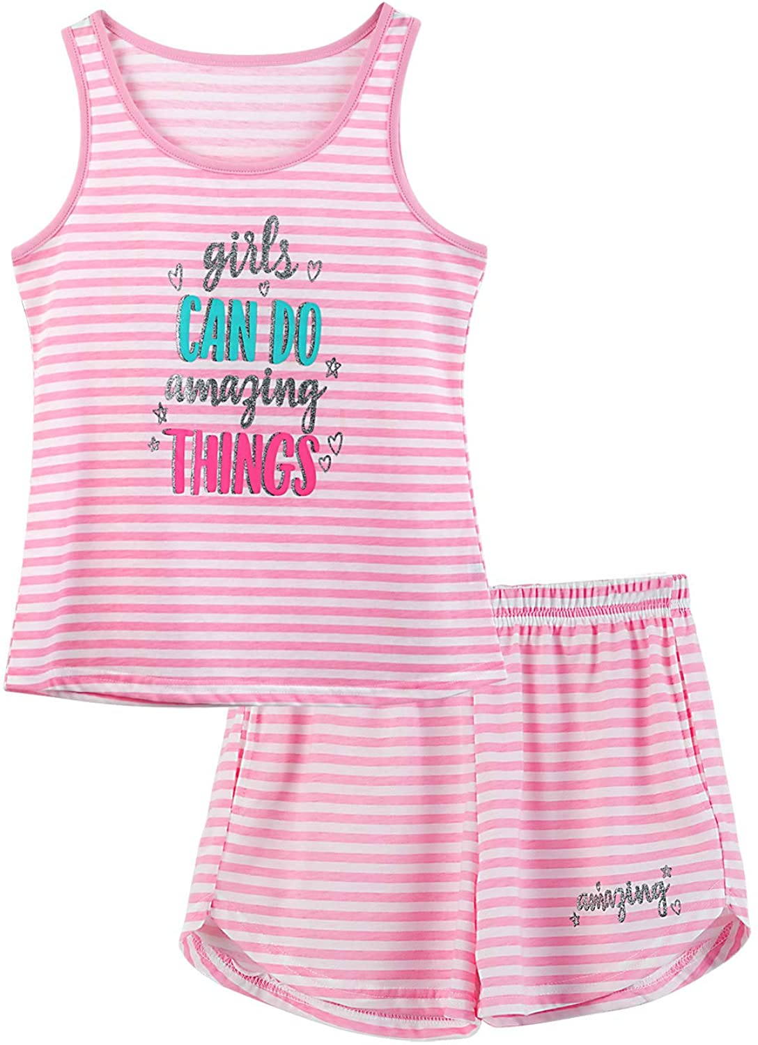 Girls Tank Top Pajamas Size 6 8 10 12 14 16 18 Summer Shorts Stripe PJS Set Big Kids Clothes for Tween//Teens
