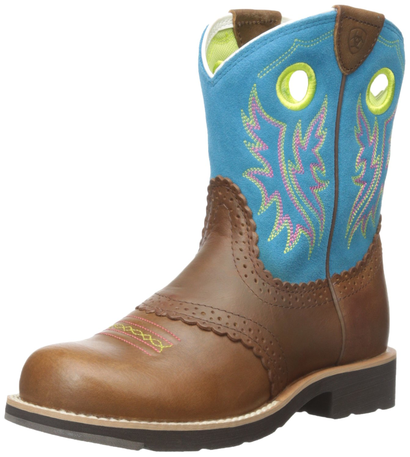 Kids' Fatbaby Cowgirl Western Cowboy Boot, Black Country Tan/Bright Blue, 2.5 M US Little Kid