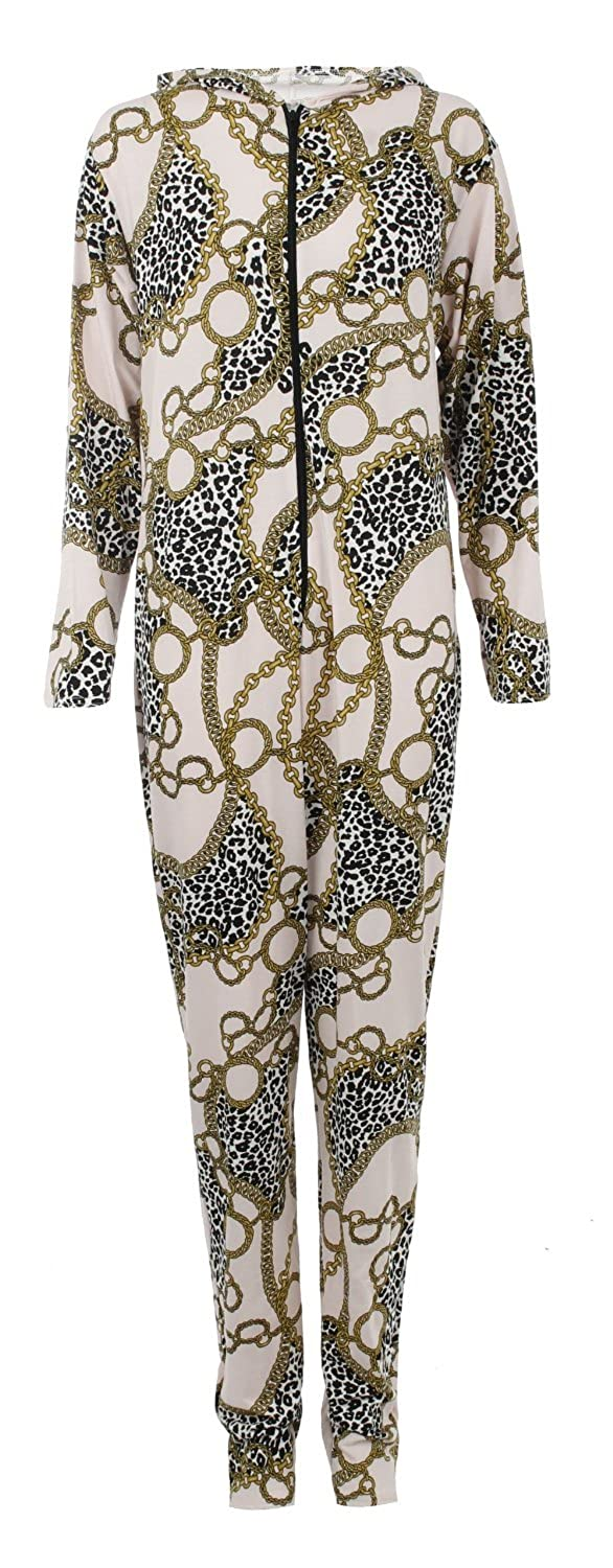 xclusive WOMENS LEOPARD CHAIN PRINT HOODED ONESIE ALL IN ONE SUIT JERSEY JUMPSUIT S/M M/L