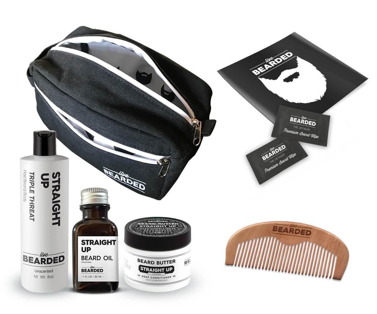 Live Bearded Dopp Kit - Holiday Bundle (Beard Oil, Beard Butter, Beard Wash, Wooden Comb and Beard Brush) (Straight Up)