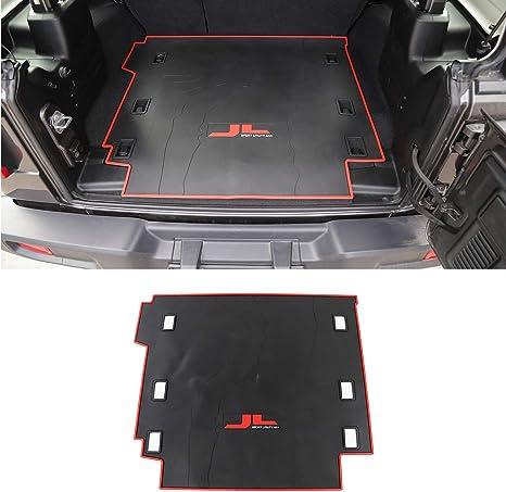 JeCar Heavy Duty Rubber Waterproof Floor Liners JL Front and Rear All Weather Floor Liners Compatible for 2018 2019 2020 Jeep Wrangler JL Unlimited 4-Door JL All Weather Floor Mats Red