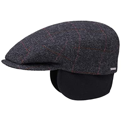 4dc47f40bcb Stetson Kent Wool Ivy Cap with Earflaps hat Flat caps (55 cm - Anthracite)