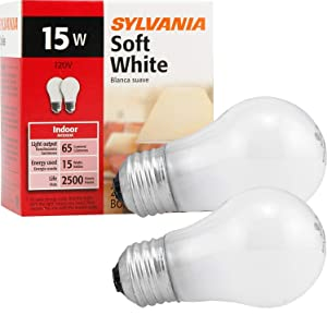 Sylvania Soft White Incandescent A15 Bulb, Medium Base | 15 Watts/120 Volts | 2-Bulbs Per Pack (2-Bulbs Total)