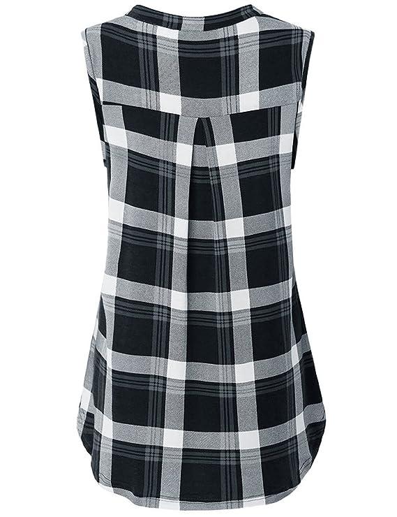 62773f3840275 Luranee Womens Sleeveless Plaid Shirts V Neck Casual Nice Zip Up Tunic Tank  Tops at Amazon Women s Clothing store