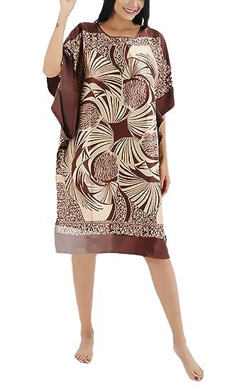 Mujer Ropa De Dormir Camisón Largo Verano Impresión Vintage Etnicas Estilo Cuello Redondo Manga De Murciéla