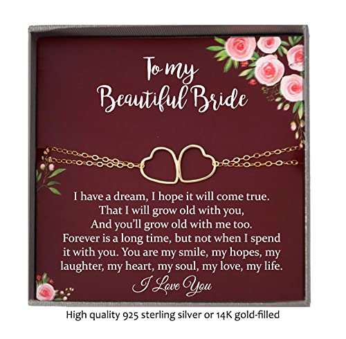 925 Sterling Silver Or 14K Gold Filled Groom to Bride Gift Bracelet with Meaningful Message