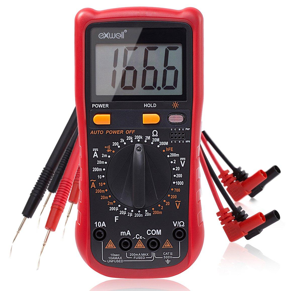 Exwell Profi Digital Multimeter, Widerstandsmessung, Spannungs- und Stromprà ¼ fer, Messgerà ¤ t mit akustischer und optischer Rà ¼ ckmeldung