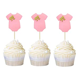 Ercadio 24 Pack Baby Onesie Cupcake Toppers Pink Clothes Cupcake Picks Baby Shower Girl Birthday Gender Reveal Party Cake Decors