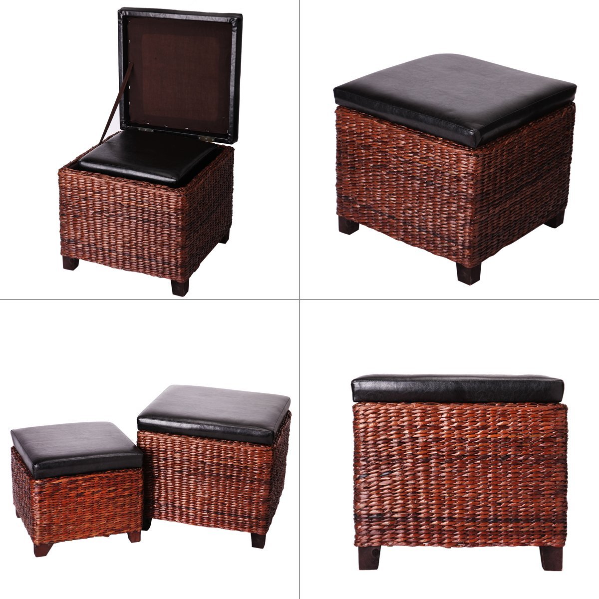 Eshow Ottoman Rattan Ottoman with Storage Hassocks and Ottomans Foot Rest Pouf Ottoman Foot Stools Cube Decoration Furniture Leather Ottoman Seating Storage Bench Ottoman with Tray Small 2-Piece,Brown by Eshow