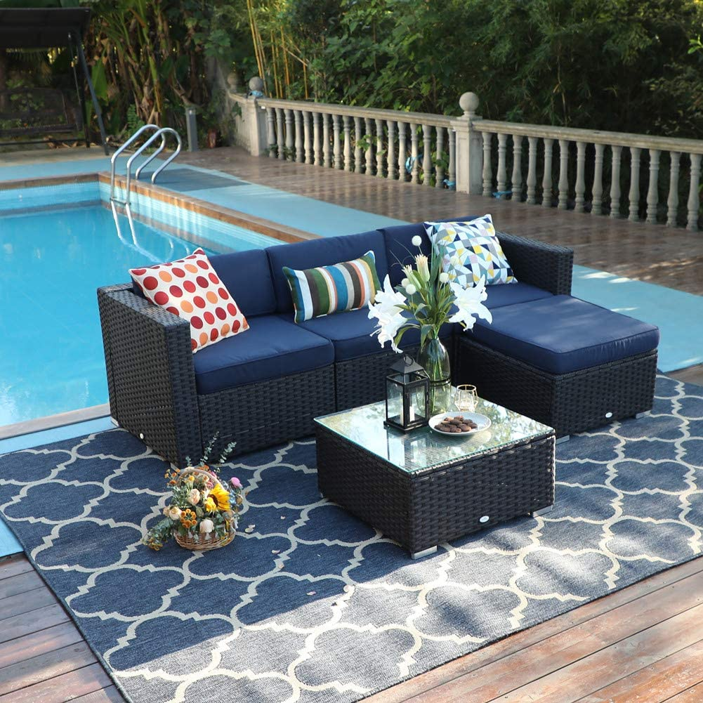 PHI VILLA Outdoor Rattan Sectional Sofa- Patio Wicker Furniture Set 5-Piece, Blue