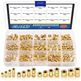 Glarks 370Pcs M2 M3 M4 M5 Female Thread Knurled Brass Threaded Insert Embedment Nut Assortment Kit for 3D Printing