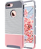 iPhone 7 Plus Case, ULAK Slim Dual Layer Protection Scratch Resistant Hard Back Cover Shock Absorbent TPU Bumper Case for Apple iPhone 7 Plus 5.5 inch-Minimal Rose Gold Stripes+Grey